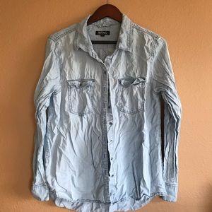 Buffalo David Bitton Light Blue Chambray Shirt L